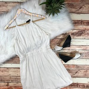 Aqua white embroidered crotchet dress